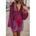 Sexy Street Girls' Blouson Sleeve Surplice Neck Bow Tie Waist Sequined Mini Wrap A-Line Dress in Rose Red