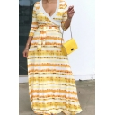 Female Casual Yellow Three-Quarter Sleeve Surplice Neck Stripe Print Bow Tie Waist Long Flowy Dress