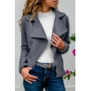 Ladies Fashion Plain Notched Collar Long Sleeve Open Front Faux Suede Jacket Coat