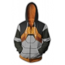 Popular Comic Anime Cosplay Costume Colorblock Long Sleeve Zip Up Casual Hoodie