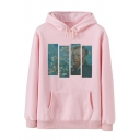 Creative Van Gogh Printed Long Sleeve Kangaroo Pocket Casual Drawstring Hoodie
