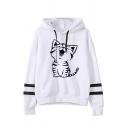 Womens Loose Fit Cute Cat Printed Varsity Striped Drawstring Hoodie