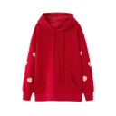 Womens Cute Strawberry Printed Long Sleeve Pouch Pocket Red Oversized Hoodie
