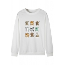 Cute Dancing Cartoon Animals Sloth Letter NO Print Long Sleeve Pullover Sweatshirt