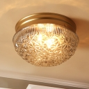 14-Light Prism Glass Flush Light Colonialist Gold Dome Bedroom Close to Ceiling Lighting