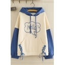 Simple Letter HELLO Printed Color Block Long Sleeve Side Tie Pouch Pocket Oversized Hoodie