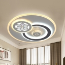 LED Bedroom Ceiling Light Modern Stylish White Flush Mount Lamp with Orbit Faceted Crystal Shade