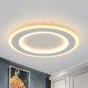 Halo Ring Flush Mount Lamp Simplicity Frosted Acrylic White LED Ceiling Light Fixture in Warm/White Light