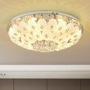 Dome Flush Light Modernism Faceted Crystal 7/13 Bulbs White Close to Ceiling Light, 23.5