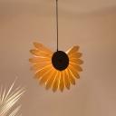 Wooden Flower Pendant Lighting Country Style 1-Light Hanging Ceiling Light for Resturant