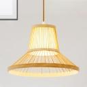 Wooden Hat Ceiling Hanging Light Modern Asian Weave Pendant Lighting for Restaurant with 39