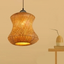 Handwoven Cage Pendant Light 1 Light Tropical Hanging Ceiling Light for Restaurant