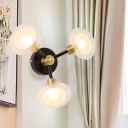 Spherical Clear Glass Sconce Light Contemporary 1/3 Lights Black and Gold Wall Lamp