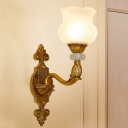 Brass 1/2-Bulb Wall Lamp Vintage Style Frosted Glass Petal Shade Sconce Light Fixture for Corridor