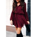 Red Trendy Girls' Blouson Sleeve Lapel Collar Button Down Bow Tie Waist Plaid Print Asymmetric Pleated Mini A-Line Shirt Dress