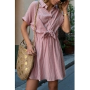 Plain Trendy Ladies' Short Sleeve Lapel Collar Stripe Pattern Bow Tie Front Button Down Short Pleated A-Line Dress