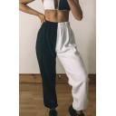 Street Cool Elastic Waist Contrasted Cuffed Ankle White Length Oversize Sweatpants for Hip Hop Girls