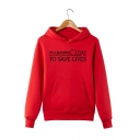 Chic Letter IT'S A BEAUTIFUL DAY TO SAVE LIVES Long Sleeve Red Pull-Over Hoodie