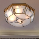 Octagonal Bedroom Flush Mount Light Colonial Blown Opal Glass 3 Bulbs Brass Close to Ceiling Lamp
