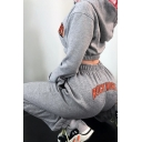 Hip Hop Street Grey Elastic Waist ROCK MORE Letter Print Cuffed Long Relaxed Tapered Sweatpants for Women