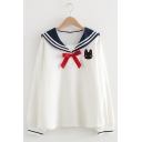 Girls Leisure Embroidery Black Cat Print Sailor Collar Bow Front Long Sleeve Loose Sweatshirt