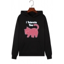 Womens Funny Cat Letter I TOLERATE YOU Print Long Sleeve Drawstring Hoodie