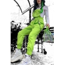 Street Cool Girls' Sleeveless Buckled O-Ring Chain Embellished Cuffed Baggy Tapered Suspender Pants in Green