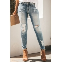 Trendy Basic Light Blue Mid Rise Bleach Distressed Stretchy Skinny Jeans for Girls