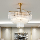 Tiered Clear Crystal Pendant Chandelier Modernism 8 Bulbs LED Gold Hanging Light for Living Room