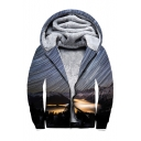 Warm 3D Landscape Print Long Sleeve Zip Up Hoodie
