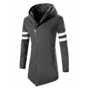 New Stylish Letter Number Print Back Long Sleeve Side Zip Closure Tunic Varsity Stripe Hoodie