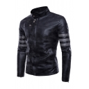 Casual Stripe Long Sleeve Snap Collar Zip Embellish Button Front Slim Fit Retro Faux Leather Jacket