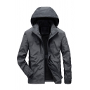 Mens Leisure Dark Gray Long Sleeve Zip Placket Slim Fit Track Jacket Hooded Workwear Coat
