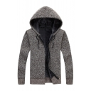 New Fashion Solid Color Coffee Long Sleeve Zip Placket Slim Fit Hooded Knitted Jacket Hoodie