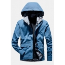 Light Blue Long Sleeve Flap Pocket Zip Up Slim Fit Cargo Track Jacket Mens Hooded Coat