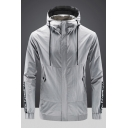 Mens Casual Plain Letter Tape Long Sleeve Zip Up Outdoor Hooded Track Jacket