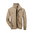 Mens Stylish Plain Khaki Plain Long Sleeve High Collar Flap Pocket Zipper Embellished Slim Fit Casual Work Jacket