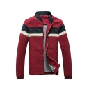 Mens Popular Striped Printed Long Sleeve Stand Collar Zip Up Casual Jacket