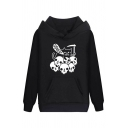 Funny Cat Got Your Soul Skull Ghost Printed Long Sleeve Pouch Pocket Regular Drawstring Hoodie