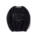 Unisex Funny Rabbit Duck Print Round Neck Long Sleeve Thick Pullover Sweatshirt