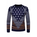 Mens New Fashion Stars Geometric Printed Long Sleeve Crewneck Slim Fit Casual Sweater Navy Knitwear