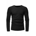Mens Casual Pleated Detail Long Sleeve Round Neck Slim Fit Plain Pullover Sweater