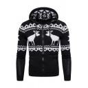 Hot Popular Reindeer Printed Long Sleeve Zip Placket Slim Fit Hooded Christmas Cardigan Knit Hoodie