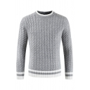 Mens Winter Popular Contrast Trim Long Sleeve Cable Knit Pullover Sweater