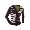 Mens Classic Pentagram Stripes Printed Long Sleeve Button Down Casual Knitted Cardigan Coat