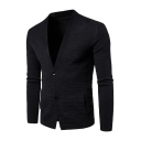 Mens Popular Plain Long Sleeve Double Button Slim Fit Casual Cardigan Coat with Pocket