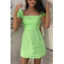 Womens Casual Plain Light Green Lantern Short Sleeve Square Neck Mini A-Line Day Dress