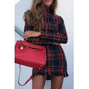 Womens Elegant Red Plaid Pattern High Collar Long Sleeve Tassel Trim Mini Day Dress