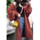 Hot Popular Womens Plain Long Sleeve Holey Maxi Cardigan in Loose Fit