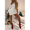 Womens Sexy Plain Cut Out Single Sleeve One Shoulder Mini Designer Club Dress
